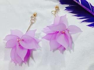 Purple flowery earrings
