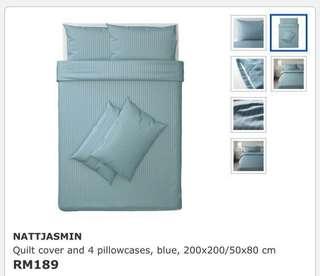 Ikea Nattjasmin (Queen) Quilt Cover With 4 Pillowcase, Blue (200x200cm)
