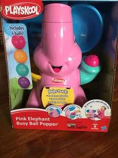 Playskool- Pink Elephant Busy Ball Popper