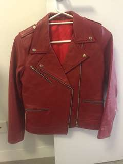 Genuine Leather Jacket - Red