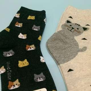 貓咪可愛 襪子二雙