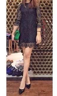 黑色 蕾絲 洋裝 連身裙 蕾絲上衣 連衣裙