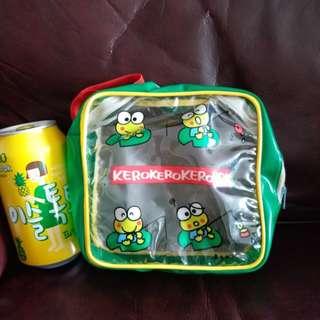 Keroppi青蜻仔1990年日本絕版化妝袋/什物袋