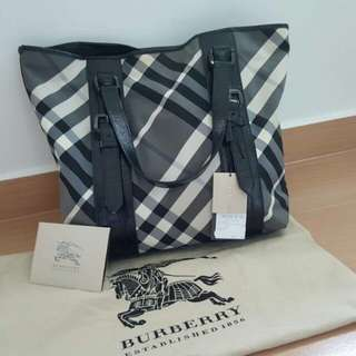 Burberry Check Victoria Nylon Tote Bag