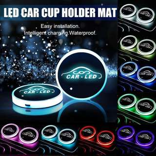 2pk Lighting LED Car Cup Holder Mat Pad Waterproof Drinks Coaster Auto on Lights
