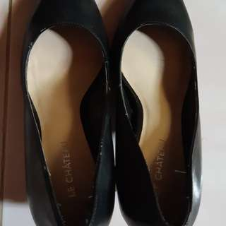 Black leather shoes pointed