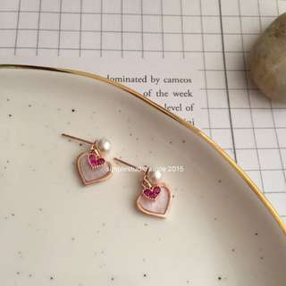 BN Sweet Double-Heart Earrings with S925 posts