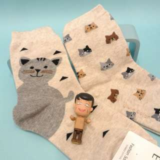 貓咪 可愛襪子 二雙