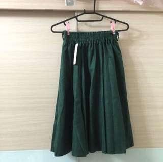🤫免運降價。全新綠色超質感及膝裙