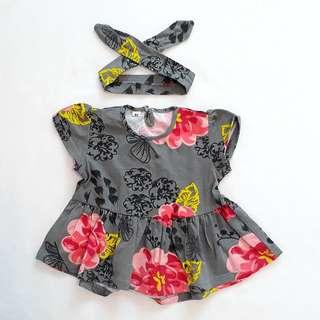 BN 12Mths Grey Floral Dress with Headband
