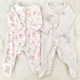 (To Bless exchange) Preloved baby girl jumpsuits (newborn to 3 months)
