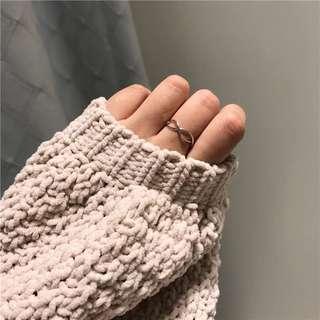 (現貨-麻花開口)合金戒指可調整戒指 愛心型麻花開口戒指