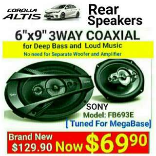 """SONY 6""""x9"""" 3 way Car Speakers 3 for Toyota Altis( 420watts )Coaxial Speaker. The most powerful speakers for your car without the need for separate Amp + Woofer. Model:FB693E. Usual Price: $ 129.90. Special Price: $69.90 ( Brand New In Box  & Sealed)"""