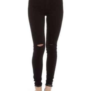 Nobody denim siren skinny high rise black jeans ripped knee size 27