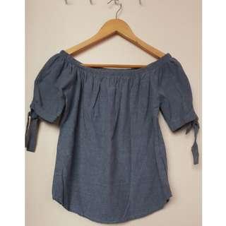 Denim off-shoulder top (Small-Medium size)