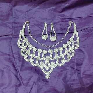 Big day婚紗飾物 仿鑽石頸鍊耳環  prewedding