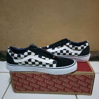 Vans Oldskool checkerboard navy white