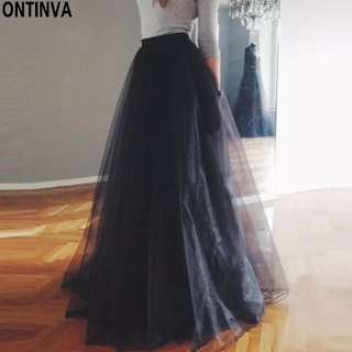 White Tulle Mesh Pleated Skirts 2018 Casual Women Elastic High Waist Cute Junior Girls Fashion Party Jupe Solid Long Skirts