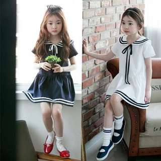 Little Kid Dress - GFR432  Color: blue, white  Size: 100cm, 110cm, 120cm, 130cm, 140cm, 150cm