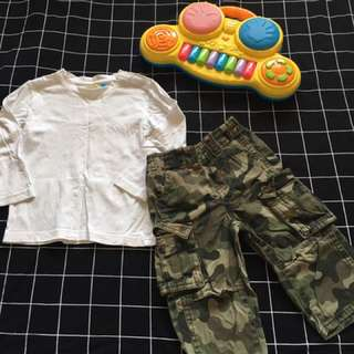 VGUC white shirt &army pants