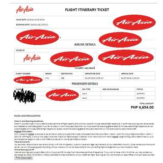 Manila to Cebu Tickets Air Asia April 25, 2018 (2 Person) ( 1 girl and 1 boy) One Way Only for 2
