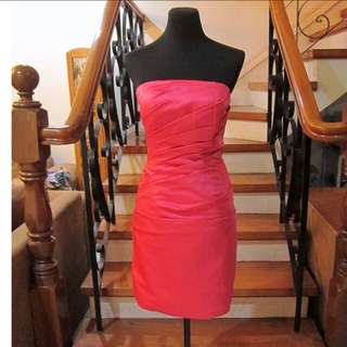 Strapless pleated cocktail dress in hot pink