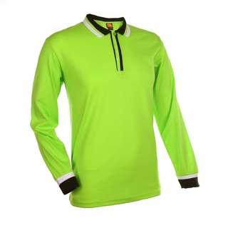 Lime Green Unisex Long Sleeve Polo Collar T-Shirt Size 2XL