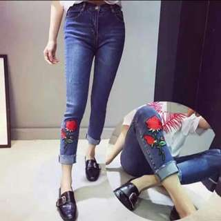 Embroider denim jeans