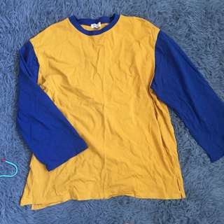 藍色 黃色 寬袖上衣