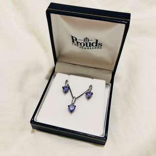 [PROUDS] Lilac heart shape necklace and earring set