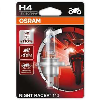 OSRAM night racer headlight bulb replacement for motorcycle. LTA approved halogen bulb. H4 and H7