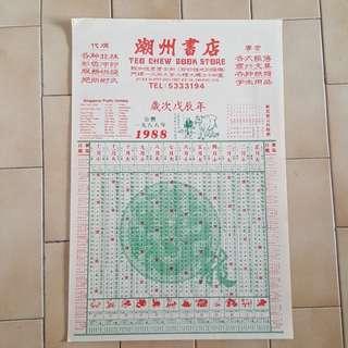 Vintage calendar 1988公曆