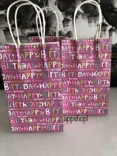 Purple happy birthday paper bag- goodies bag packages carrier, goody bag