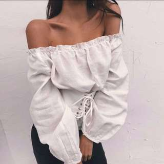 White Corset Off Shoulder Bardot Lace Up Waist Long Sleeve Top