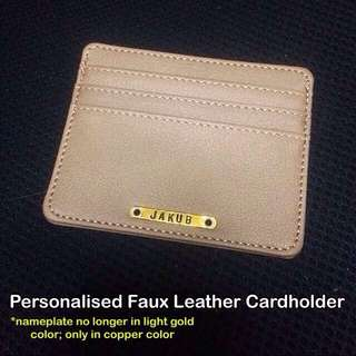 Personalised Faux Leather Cardholder [good man-made / synthetic leather; good workmanship; rivet mount nameplate wordplate unisex gifts handmade uncle.anthony uncle anthony uac] FOR MORE PICTURES & DETAILS, GO HERE: 👉 http://carousell.com/p/145606065