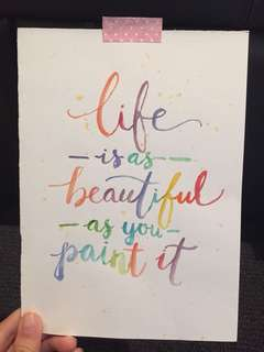 Watercolour calligraphy quote artwork
