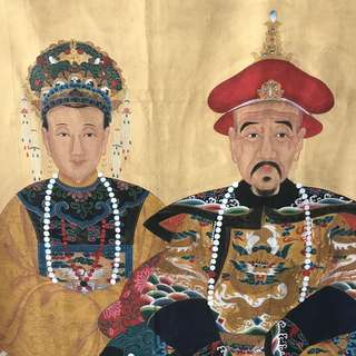 Golden chinese emperors painting