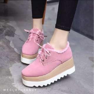 加厚絨厚底鬆糕鞋