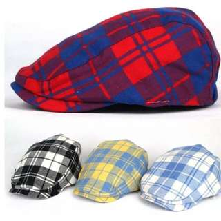 Kids Boys Girls Baby checked Flat Cap Newsboy Baker Boy Cabbie Beret Gatsby Hats