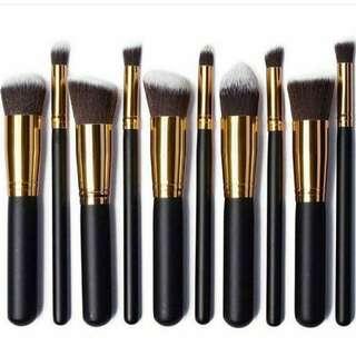 10 pcs kabuki brush set in black