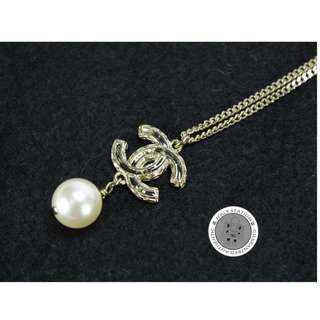 (NEW)Chanel A63757 CC WITH A PEARL METAL NECKLACE GHW, GOLD 全新 頸鏈 金色 金扣