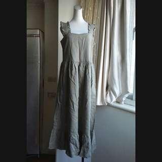 韓系 荷葉襬 寬鬆棉麻長洋裝