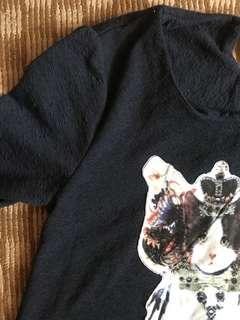 貓咪七分袖短版洋裝