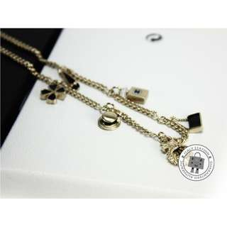 (NEW)Chanel A61360 TBA WITH 6 CHARMS METAL NECKLACE GHW, BLACK WITH GOLD 全新 頸鏈 黑白 金色 金扣
