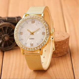 Relogio Feminino Women watches 2018 Fashion New Summer Style Classy Ladies Crystal Roman Numerals Gold Mesh Band Wrist Watch