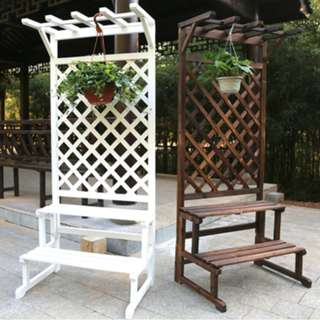 Carbonized Cedar-wood Plants Stand - White Colour 75cm x 172cm
