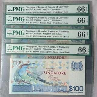 Singapore Bird 100 First Prefix A1 PMG 66EPQ 4 Run