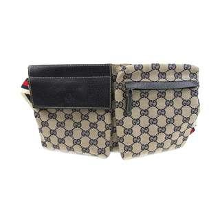 GUCCI 二手腰包  特平日本   Waist Bag Body Bag Beige x Navy Canvas x Leather 日本代購