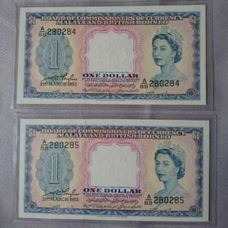 1935 Malaya Queen Elizabeth 1 Dollar pair UNC