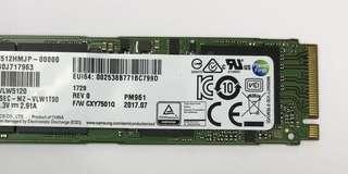 [真實現貨] Samsung 512GB M.2 PCI-e NVMe SSD (PM961)